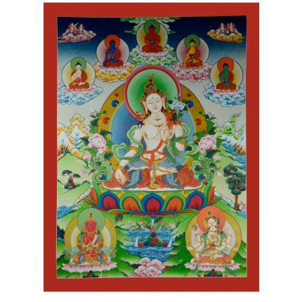 "39.25""x30''  White Tara Thangka Painting"