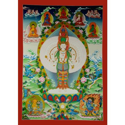 "39""x28"" Avalokiteshvara Thankga Painting"