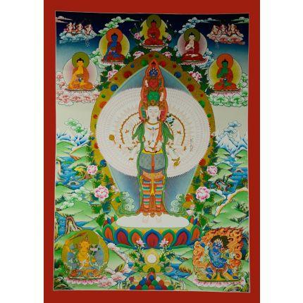"""39""""x28"""" Avalokiteshvara Thankga Painting"""