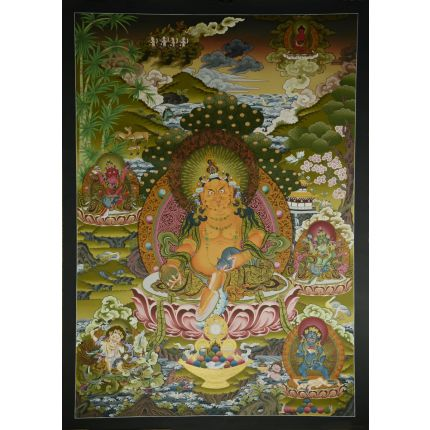 "42.25""x30.5"" Yellow Jambhala Thankga Painting"