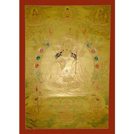 "43""x32.5"" Gold Guru Padmasambhava Thangka"