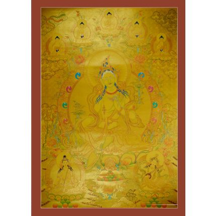 "44""x30.5"" Gold Green Tara Thangka Painting"