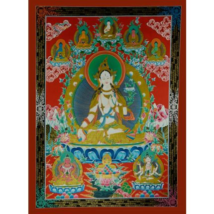 "45.5""x35.25""  White Tara Thangka Painting"