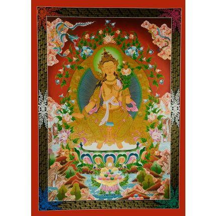 """46""""x33"""" Maitreya Buddha Thangka Painting"""
