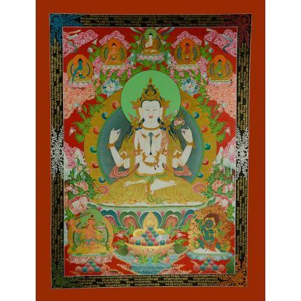 """46""""x34.5"""" Chenrezig Thangka Painting"""