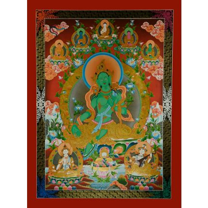 "47.25"" x 35.5 Green Tara Thangka Painting"