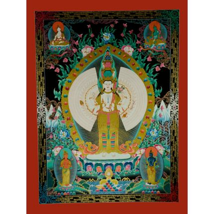"47""x 36"" 1000 Armed Avalokiteshvara Thankga Painting"
