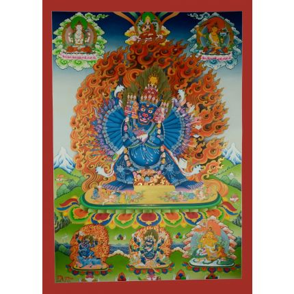 "52.25""x37.75''  Yamantaka with Consort Thankga Painting"