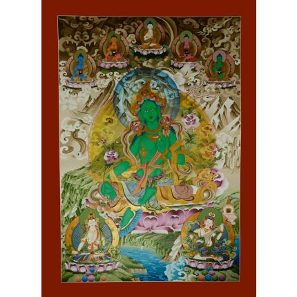 "54""x39.5"" Green Tara Thangka Painting"