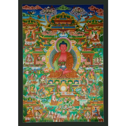 "Pure Land  Amitabha Buddha Thangka  - 42.5"" x 30.5"""