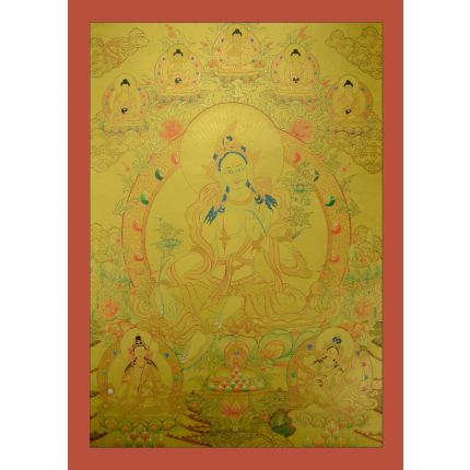 "Tibetan Gold Green Tara Thangka Painting -32.5""x23.75"""