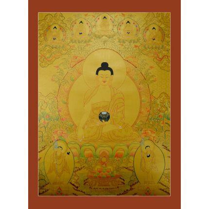 """Gold Shakyamuni Buddha Thangka Painting - 33.5""""x 25"""""""