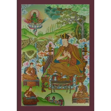 "First Karmapa Dusum Khyenpa Thangka  - 32.75"" x 22.75"""