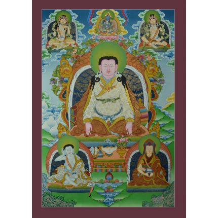 "Guru Marpa  Thangka Painting founder of Kagyudpa tradition of Tibetan Buddhism   - 33"" x 23"""