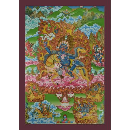 "Palden Lhamo Thangka Painting powerful female protector of the faith -30.25"" x 20"""