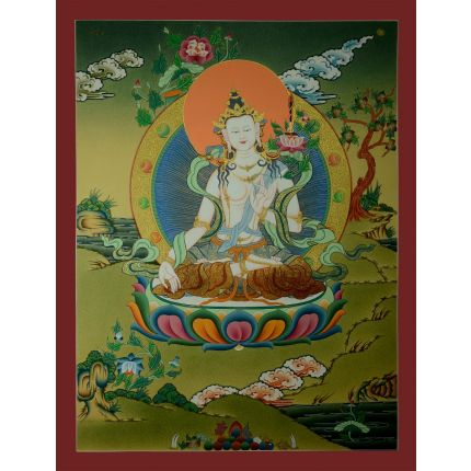"26.5""x20.25"" White Manjushir Thangka"