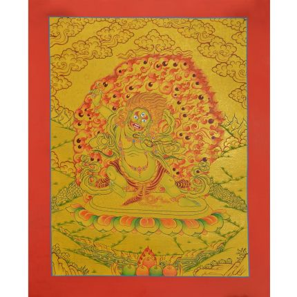 "Gold 14.5"" x 12"" Vajrapani Thangka Painting"