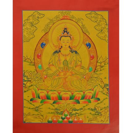 "Gold 15.25"" x12"" Aparmita Thangka Painting"