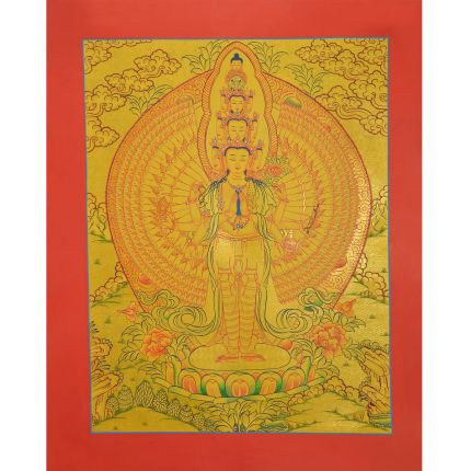 "Gold 15.5"" x 12.25""1000 Armed Avalokiteshvara Thankga Painting"