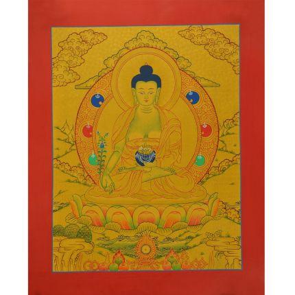 "Gold 15.5"" x 12.25"" Medicine Buddha Thangka Painting"