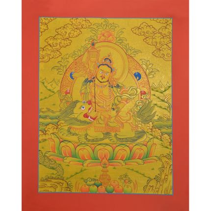 "Gold 15.5"" x 12.25"" Lion Dzambhala / Vaishravana Thangka Painting"