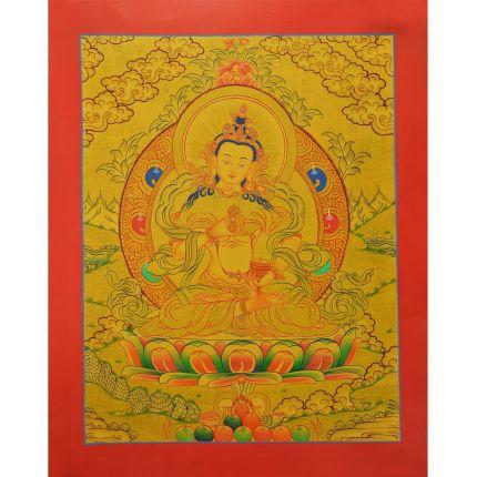 "Gold 15"" x 12"" Vajrasattva Thangka Painting"