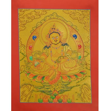 "Gold 15"" x 12""""  Yellow Jambhala Thankga Painting"