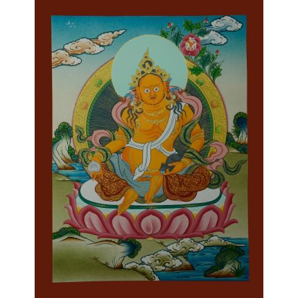 "17.25""x13.25""  Yellow Jambhala Thankga Painting"