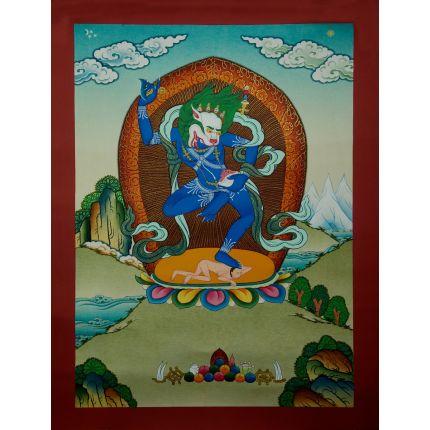 """17""""x13"""" Simhamukha Thangka Painting"""