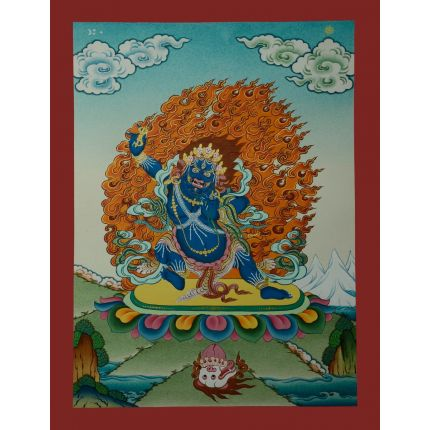 """17.25""""x13.25"""" Vajrapani Thangka Painting"""