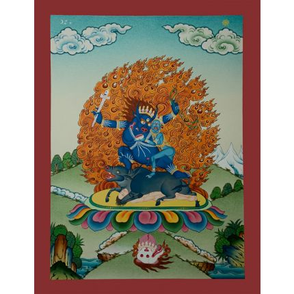"17.25"" x 13.25""  Yamantaka Thangka Painting"