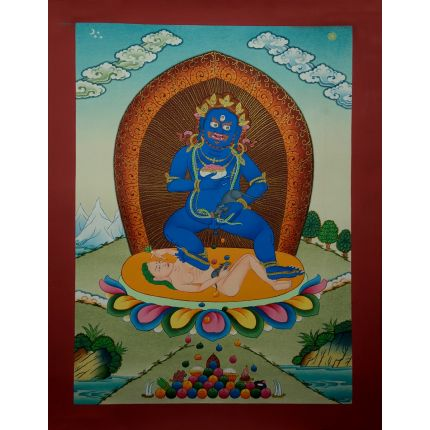 "17.25""x13"" Black Jambhala Thangka Painting"