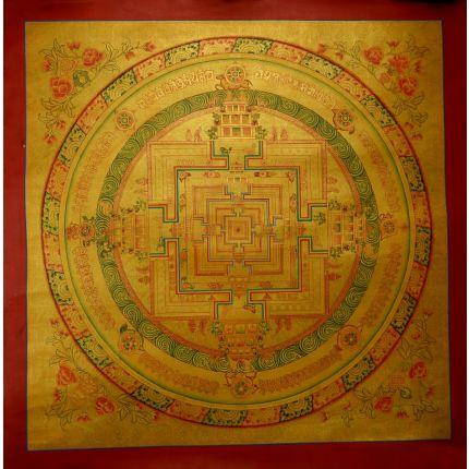 "20""x20"" Gold Kalachakra Mandala Thankga"