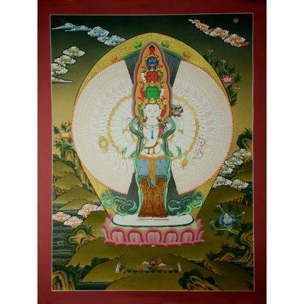 """24.5""""x18.5""""  1000 Armed Avalokiteshvara Thankga Painting"""
