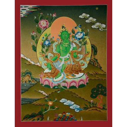 "24.5""x18.5"" Green Tara Thangka Painting"
