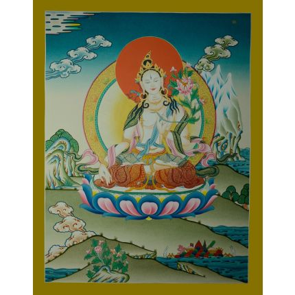 "26.75""x20.5""  White Tara Thangka Painting"