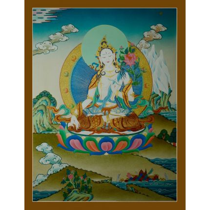 "30""x22.75""  White Tara Thangka Painting"