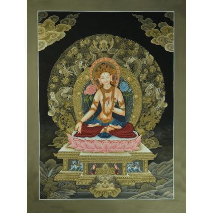 "26""x19"" White Tara Thangka Painting"