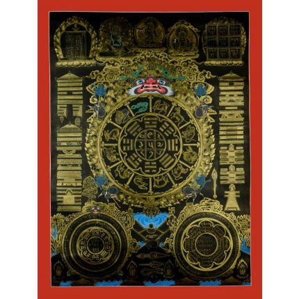 """26.25""""x19.75"""" Tibetan Calandar  Thankga Painting"""