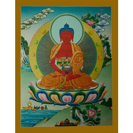 "26.25""x20.5"" Amitabha Buddha Thangka  Painting"