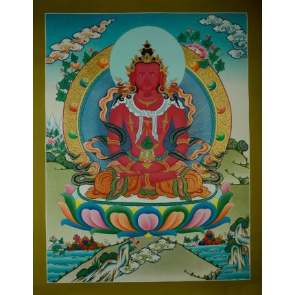 "26.25""x20.5"" Aparmita Thangka Painting"