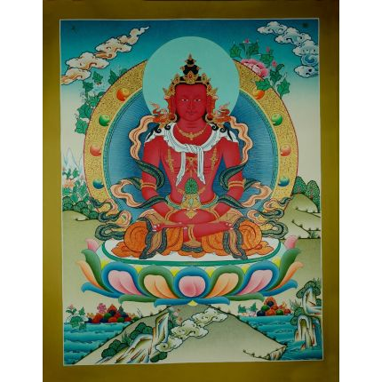 "26.75""x20.75"" Aparmita Thangka Painting"