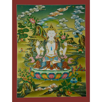 "26""x20""""  Chenrezig Thanka Painting"