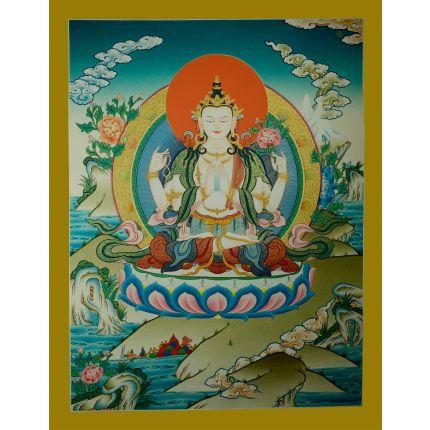 """26""""x20"""" Chenrezig Thangka Painting"""