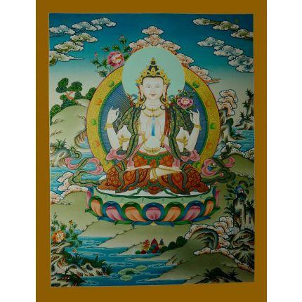 """26.25""""x20.25"""" Chenrezig Thangka Painting"""