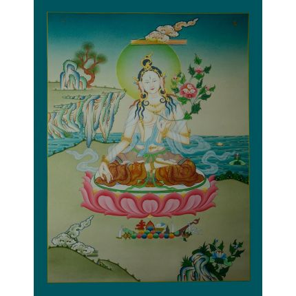 "26.5""x20.75""  White Tara Thangka Painting"