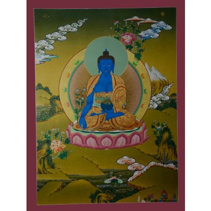 "29.75""x22.5"" Medicine Buddha Thangka Painting"