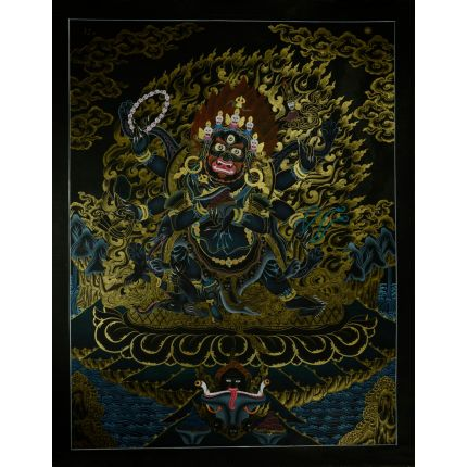 "29.25""x23"" Black Mahakala Thangka Painting"