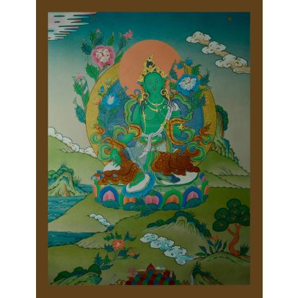 "29.75""x23"" Green Tara Thangka Painting"