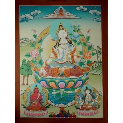 "30""x22.75""  White Tara Thanka Painting"